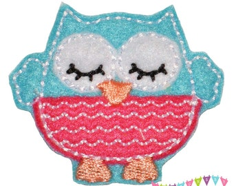 Sleepy Lil Owl - Brite Blue with Dark Pink Belly Felt Embroidered Embellishment Clippie Cover SET of 4