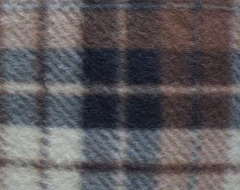 Brown Plaid Print Fleece Fabric by the yard