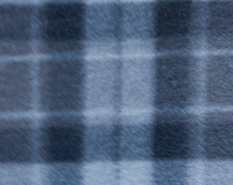 Grey Plaid Print Fleece Fabric by the yard