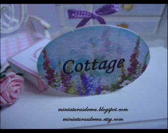 """Picture. Sign for shop. """"Lavender cottage"""". Miniature for dollhouse at 1/12 scale"""