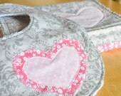 Baby Girl Bib and Burp Cloth Set Gift Set. Greys and Pinks. Flowers and Hearts. Baby Shower Gift. Newborn Essentials. Nursing Accessories.