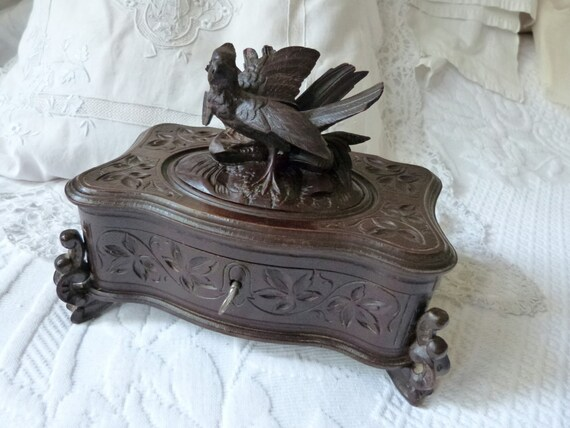 Antique Wooden Jewelry Box Wood Hand Carved Box Rare 1800s