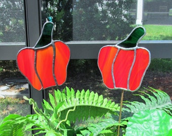 """Stained Glass Vivid """"Red Bell Pepper""""  Garden Plant Stake/Garden Marker with Black Patina or Silver Finish"""