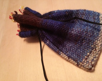 Brown and Blues Handwoven Drawstring Pouch, DnD Pouch, Tarot Card Holder