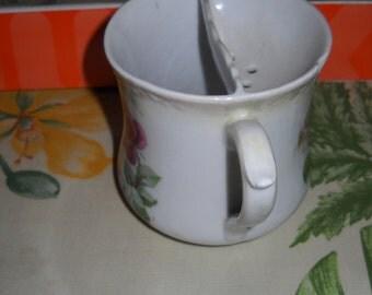 German Porcelain Shaving Mug, Barber Shop Mug,  Stenciled Floral, Cabinet Piece