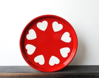 Retro Red Metal Tray, White Puffy Hearts, Vintage Decor Serving Made in England