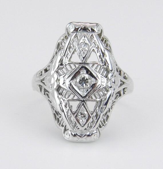 Diamond Ring Filigree Right Hand Ring Antique 18K White Gold Size 4.5
