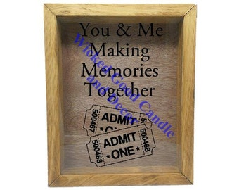 "Wooden Shadow Box Ticket Holder 9""x11"" - You and Me Making Memories Together with Tickets"
