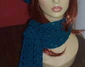 Turquoise Crochet Beret and Scarf Set