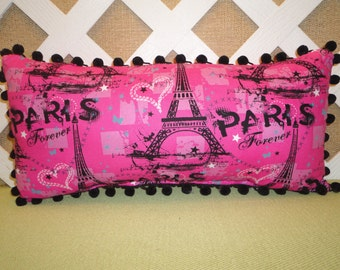 Paris Forever Pillow with Eiffel Tower in Hot Pink and Black