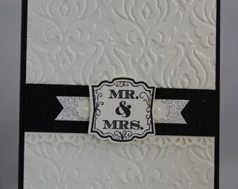 Handcrafted Elegant Vintage Mr & Mrs WeddingCard/Invitation