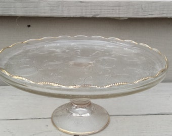 SALE Harp Motif Cake Pedestal Etched and Gold rimmed Lovely for the Holidays