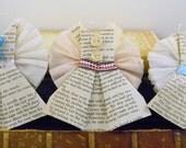 Sweet Vintage Book Pages Pink Blush Blue Aqua Origami Dresses Vintage Trims Wedding Bridal Shower  Birthday Girl Stationary Banner
