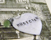 Stamped MUSICIAN Frosted Green Glass Heart Briolette Charm Necklace Valentine's Day Graduation Gift