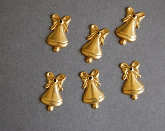 6pc Stamped Bell Charms