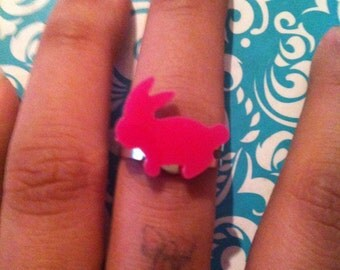Cute pink bunny ring