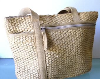 Vintage Woven Hemp Tote Bag