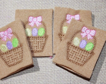 Woven Easter basket with eggs and bow feltie, felt embroidery on camel tan felt and pastel Easter eggs