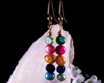 Cultured Fresh Water Pearl Earrings - Multi Color Earrings - Dangling Earrings - Costume Jewelry - Handmade in Montana Free Shipping To UA