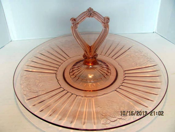 Mayfair Pink Depression Glass Sandwich Tray