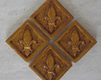 Ceramic Accent Tile -- Set of 4 Fleur de Lis 2x2 tile in Wild Honey glaze, Kitchens, Bathrooms, Handmade tile,