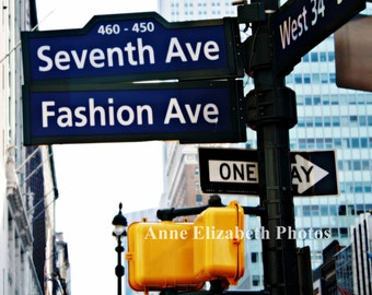 New York Wall Art-Fashion Ave -Seventh Ave - NYC -Preppy Wall Art - Fashion Art -Street Sign Print-Dorm Decor-Hipster-Urban-Color-Manhatten