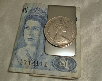 Great Britain Vintage Coin Money Clip 1976 40th Birthday Gift