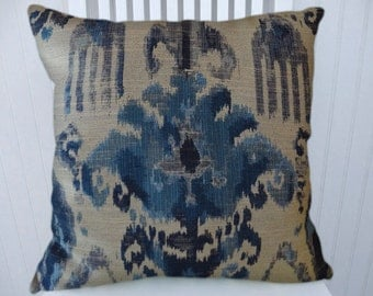 Blue Cream Decorative Pillow Cover -18x18 or 20x20 or 22x22 - Abstract/Ikat Throw Pillow Cover- Accent Pillow, Lumbar Pillows.