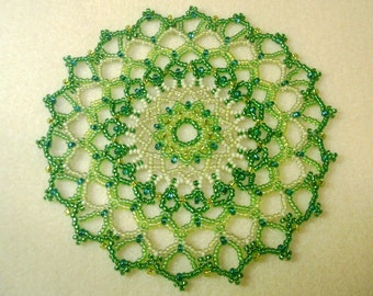 Woven Seed Bead Doily Coaster - Shades of Green Ombre - OOAK 1246