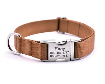 Laser Engraved Personalized Buckle Webbing Dog Collar - TERRACOTTA