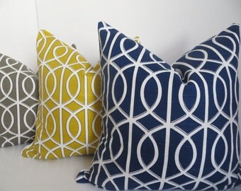 Decorative Pillow Coves, Mustard, Gray, Blue, White Pillow Cover, Dwell Studio fabric, 20x20, 18x18, Gray Pillow,Blue pillow, Mustard pillow