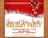 Red and Gold Bow /  Christmas Party DIY Customized Printable Party Invitations