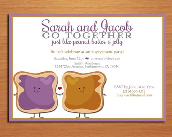 Peanut Butter and Jelly Famous Pair Engagement Party Customized Printable Invitations /  DIY