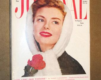 Rare Mid-Century Magazine Ladies Home JOURNAL November 1955 Complete Vintage Fashion Design House Ads Eames Mad Men Era Betty Draper 1950's