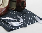 Navy blue drawstring shoe bag white polkadots - lingerie bag