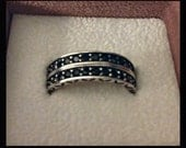 Black Crystal Eternity Ring.925 Sterling Silver - Size 7.5