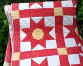 TREASURY ITEM!  Vintage Red, Yellow  and White Country Quilt.....Sun Design
