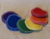 20 reusable facial rounds, 3 inch diameter, double layer flannel, solid primary and secondary colors