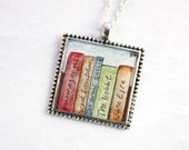 Books Necklace - Handpainted Watercolor Necklace