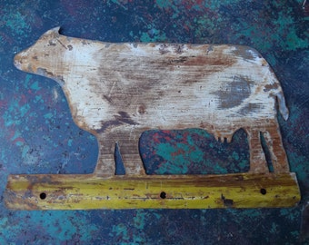 Vintage Tin Painted Cow Sign
