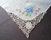 Handkerchief, Embroidered Wedding Handkerchief, Hankie, Handkerchiefs, Hankies, Tatted Corner, Blue, Ladies Hankies, All Vintage Hankies