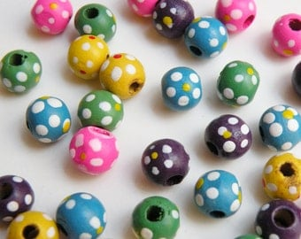 50 Bright Colorful Flowers round wood beads floral multicolored mixed colors 9-10mm 8058NB