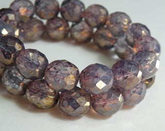 Light Amethyst Purple Opal Picasso finish fire polished Czech faceted glass round beads 12mm half strand NF-392
