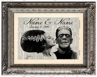 Frankensteins In Love with Names & Date 2 on Vintage Upcycled Dictionary Art Print Book Art Print Anniversary Wedding Movie Monsters Custom