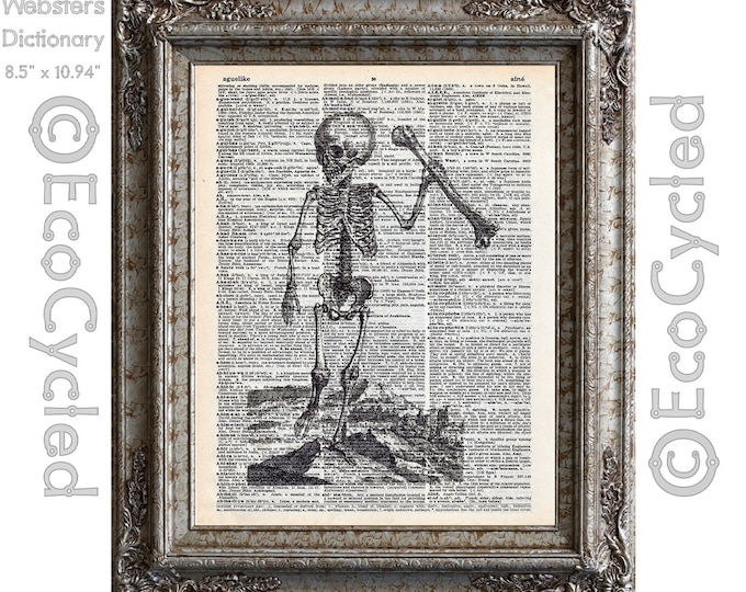 Antique Human Child Skeleton 8 Illustration on Vintage Upcycled Dictionary Art Print Book Art Print Recycled bookworm gift