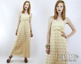 Vintage 70s Cream Scalloped Lace Hippie Wedding Dress S M Hippie Dress Hippy Dress Lace Maxi Dress Hippy Wedding Dress Boho Wedding Dress