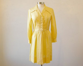 Beautiful Yellow Shirtdress / 1960s Long Sleeve Silk Day Dress / M
