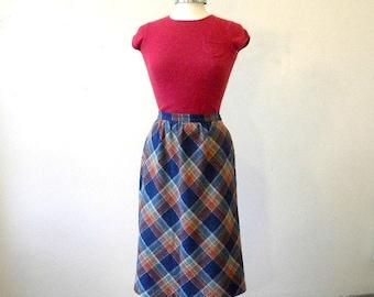 70s Wool Blend Skirt / Blue Plaid Skirt / Midi Skirt Large / Wool Tweed Skirt / Hipster Clothing / A Line Skirt Large