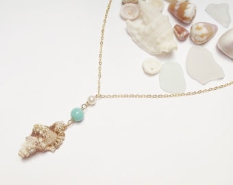 Hawaiian Shell Teal Stone 14k Gold Filled Chain Necklace