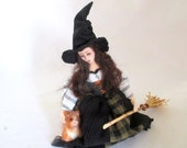 Witch cloth art doll needle felted cat Halloween poseable wire fantasy creation Hallowed